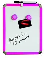 A4 Magnetbrett / Magnetisches Whiteboard. Rosa. Inkl. Stift und Löscher 21 x 28 cm. Enthält Whiteboard Marker und 2 Magnete