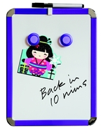 A4 Magnetbrett / Magnetisches Whiteboard. Blau. Inkl. Stift und Löscher 21 x 28 cm. Enthält Whiteboard Marker und 2 Magnete