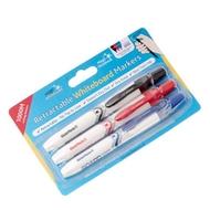 Magic Clicky Whiteboard Markers - 3er pack schwarz/ blau/ rot - ausziehbar, trocken abwischbar (ohne Kappe)