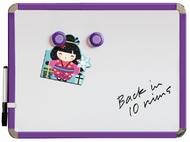 Kühlschrank Magnetbrett / Magnetisches Whiteboard. Lila. Inkl. Stift und Löscher 28 x 36 cm. Enthält Whiteboard Marker und 2 Magnete