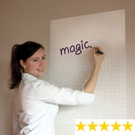 Karriertes weiß Magic Magic Whiteboard Flipchartfolie für verschiedene Oberflächen Rolle mit 25 Blatt à 600 x 800 mm