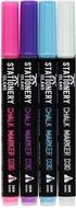Kreidestift 3mm Feine Rundspitze – Kreidemarker Trocken Abwischbar Bunt 4er Set - rosa, lila, blau, weiß