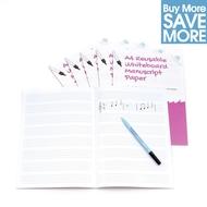 30 A4 Reusable Whiteboard Notenpapier ™ 8 Seiten