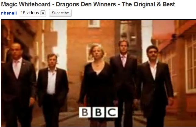 Magic Whiteboard pitching Dragons' Den