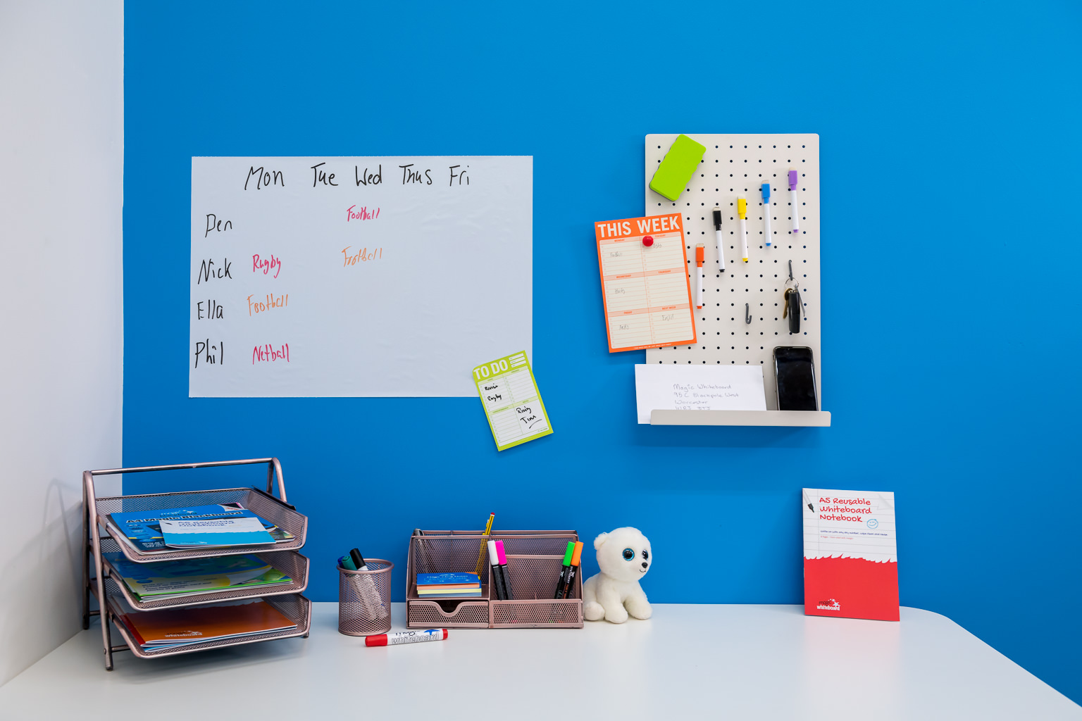 New white office pegboard