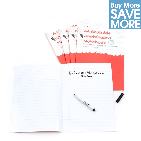 a4 ruled with margin reusable whiteboard notebook