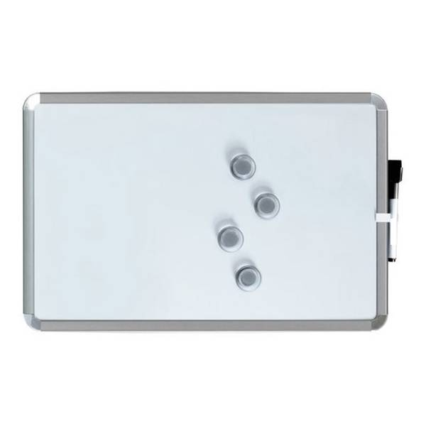 A3 Magnetbrett / Magnetisches Whiteboard inkl. Stift und Löscher 28 x 43 cm.  Silber. Enthält Whiteboard Marker und 4 Magnete