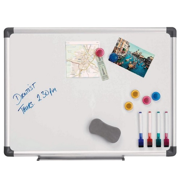 Magnetisches Whiteboard 45 x 60 cm. Enthält Whiteboard Marker, Whiteboard Radiergummi und Magnete