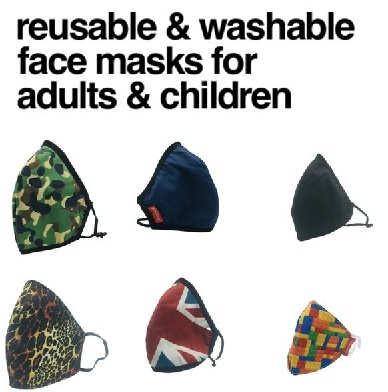 Washable & Reusable Face Masks for Adults & Children
